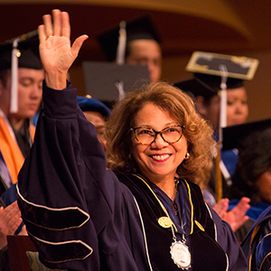 President Mildred Garcia at graduation